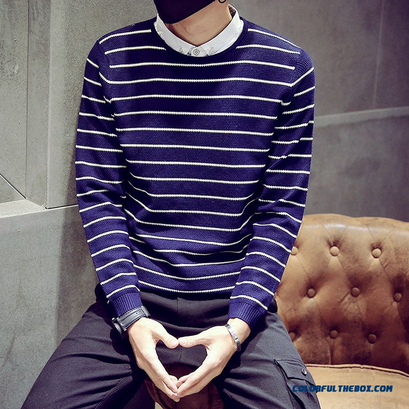 Men Clothing Knitwear Thick Round Neck Striped Lomh Sleeve Sweater