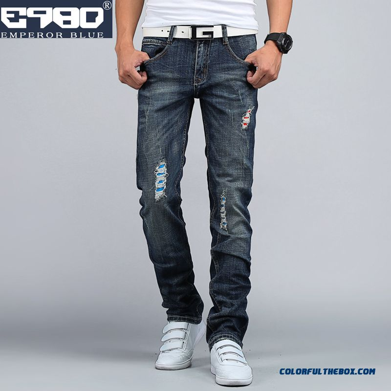Men Clothing New Autumn And Winter Broken Hole Elastic Skinny Jeans Slim Tide