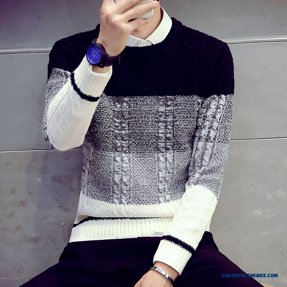 Men Clothing Thick Sweater Slim Hit The Color Round Neck Knitwear Long Sleeve Pullover Bottoming