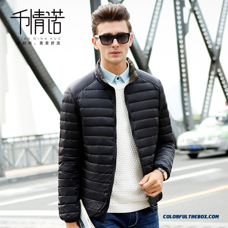 Men Double-sided Wear Jackets Stand Collar Slim Large Size Thin Winter
