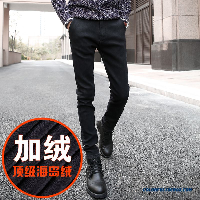 Men Plus Velvet Jeans Korean Version Of Slim Black Clothing