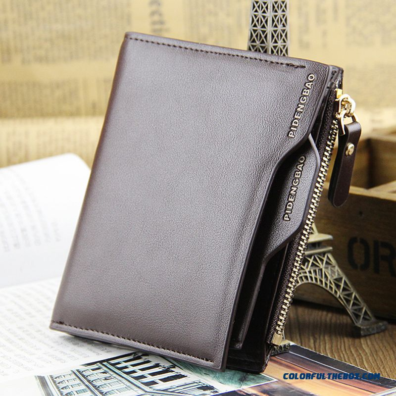 Men Short Vertical Wallets Zipper Multifunction Youth Bags Vintage Luxury Card Holder