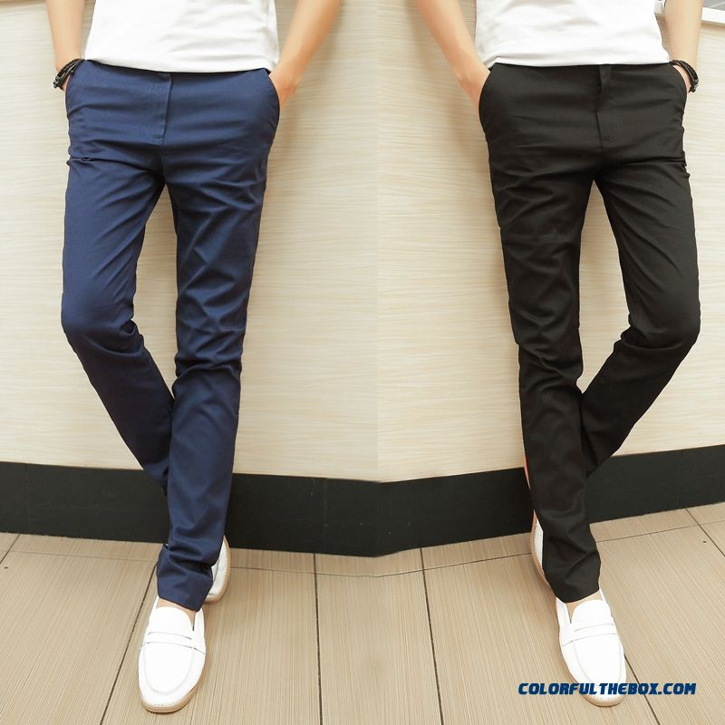 Men Slim Autumn New Solid Color Thin Style Elastic Casual Straight Pants