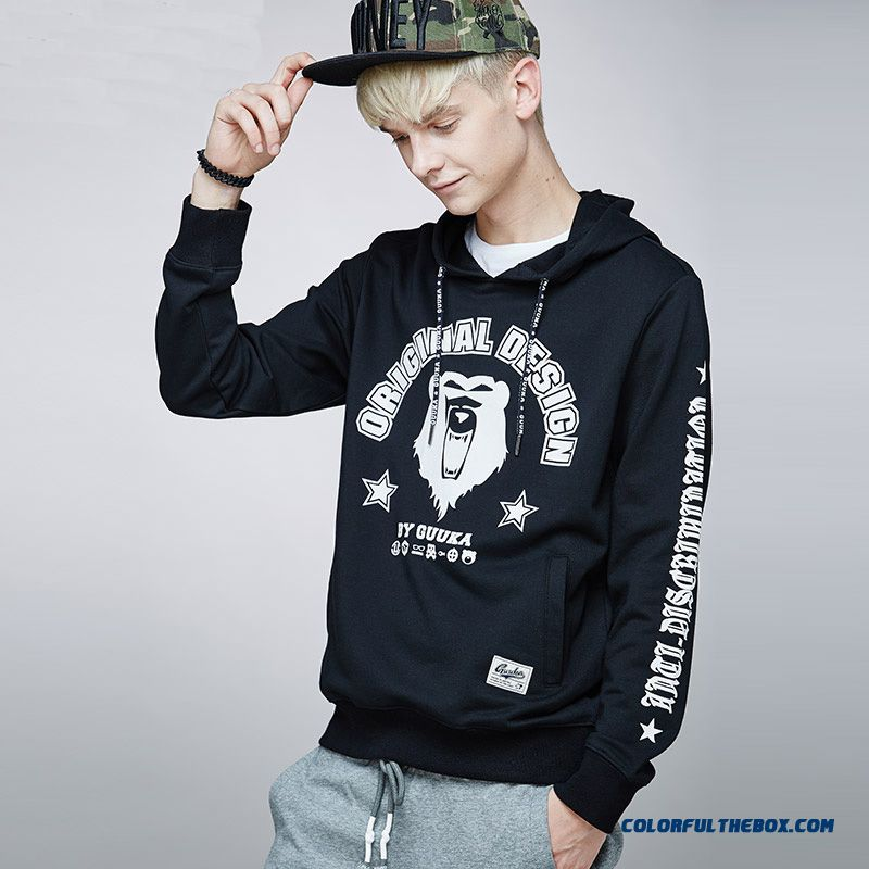 Men Sport Hoodies Tide Thin Pullover Cartoon Letters Clothing