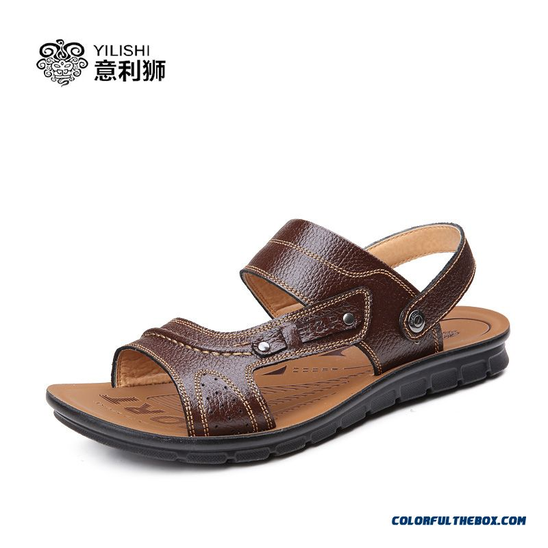 Men Style Of Shoes Summer Breathable Leather Casual Sandals