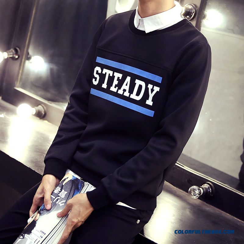 Men Sweatshirts Pullover Retro Personalized Letters Printed Cotton Round Neck