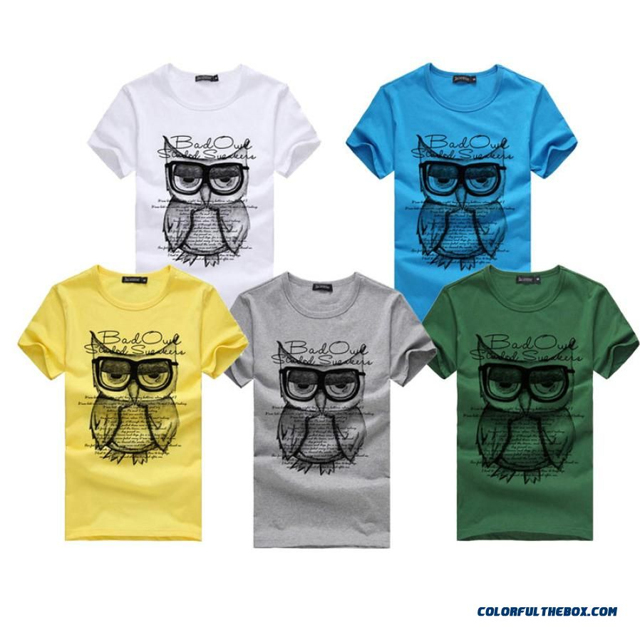 Men T-shirt Children Shirts Summer New Printing Owl Burst Knitted Cotton Casual Man's Slim Fit Short-sleeve T Shirt Clothes