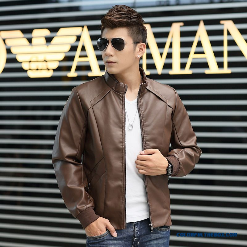 Men's 2015 Autumn New Pu Leather Stand Collar Leather Jacket Male Thin Tide