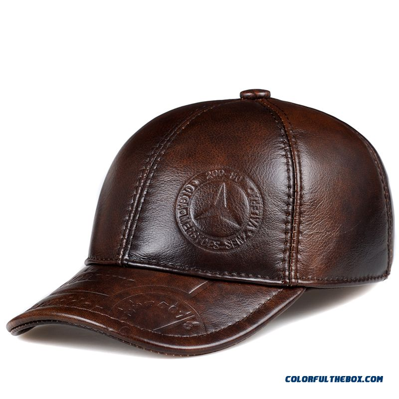 Men s Accessories Genuine Leather Hat Elderly Peaked Cap Ear Protection  Baseball Cap Free Shipping ea667ffcc68e