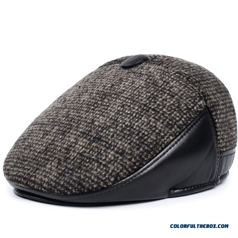 9ca5356fe17 ... Men s Accessories Winter Hat Cotton Cap Beret Wool For Middle-aged  Father ...