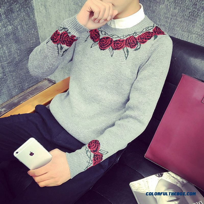 Men's Bottoming Winter Knitwear Embroidered Sweater Pullover Long Sleeve