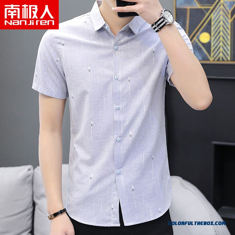 Men's Breathable Shirt Trend Europe Summer Half Sleeve Short Sleeve Blue New