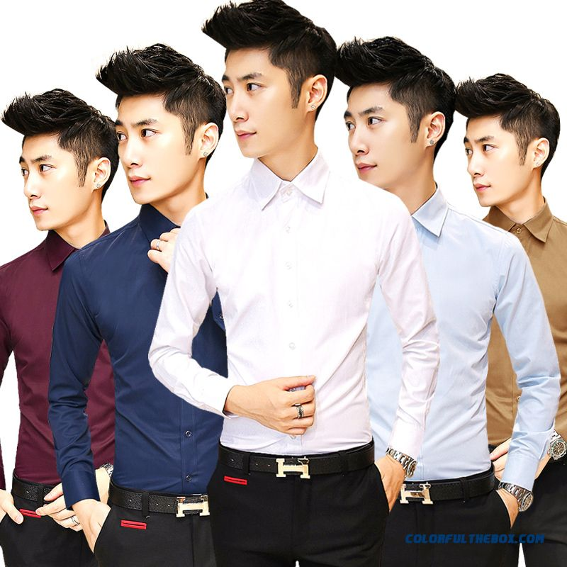 Men's Business Casual Long-sleeved Shirt Autumn Solid Color Slim Breathable Casual