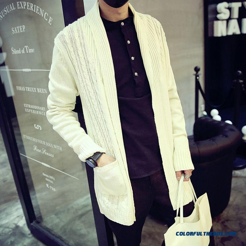 Men's Cardigan Knitwear Slim Lapel Thick Knit Sweater Coat