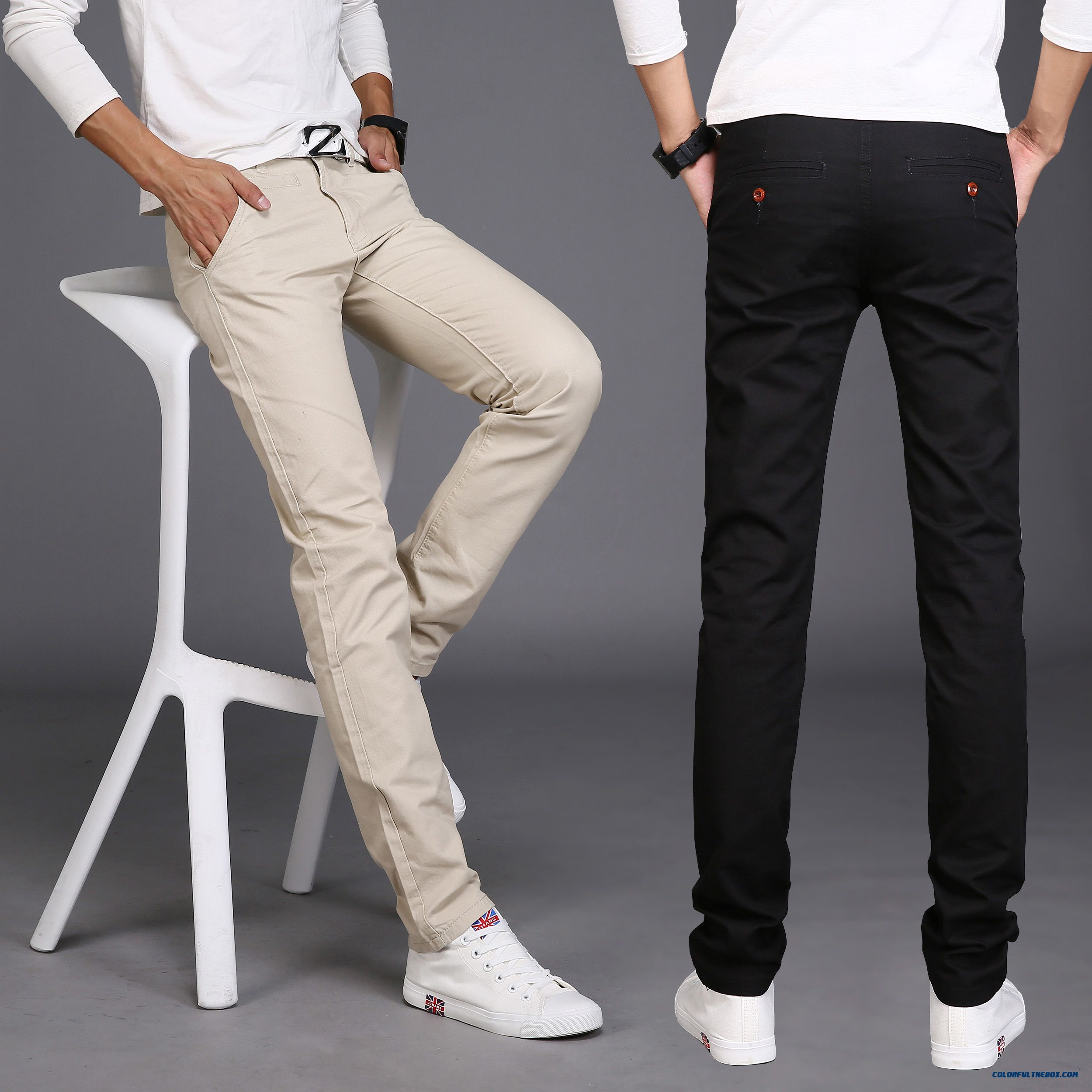 Men's Casual Cotton Long Pants Slim Straight Korean Version Of Youth Clothing