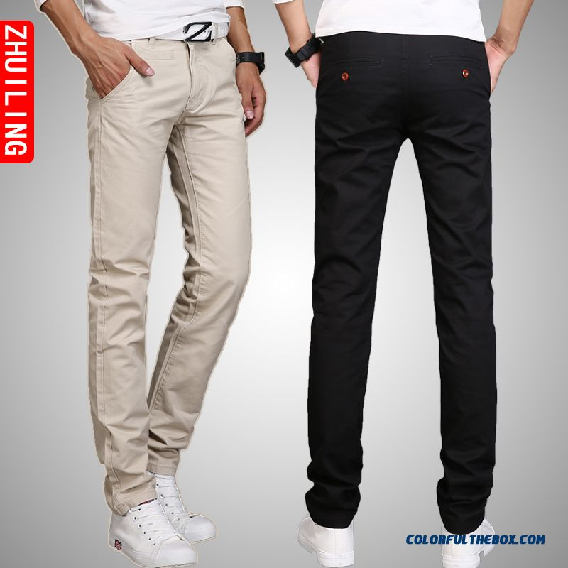 Men's Casual Korean Vertion Of Long Length Cotton Straight Pants Slothing