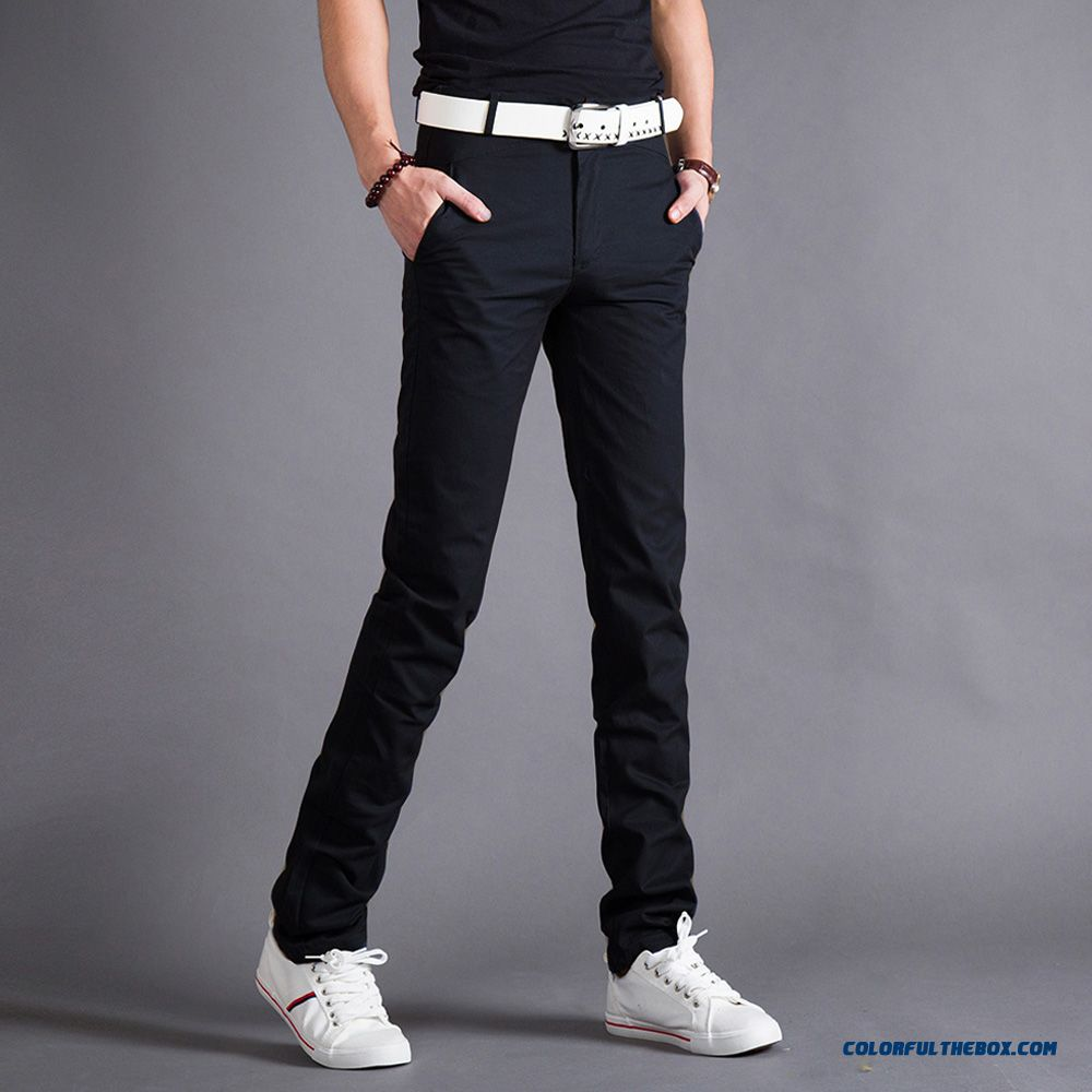 Men's Casual Long Pants Slim Straight Casual Plus Velvet Thick Clothing