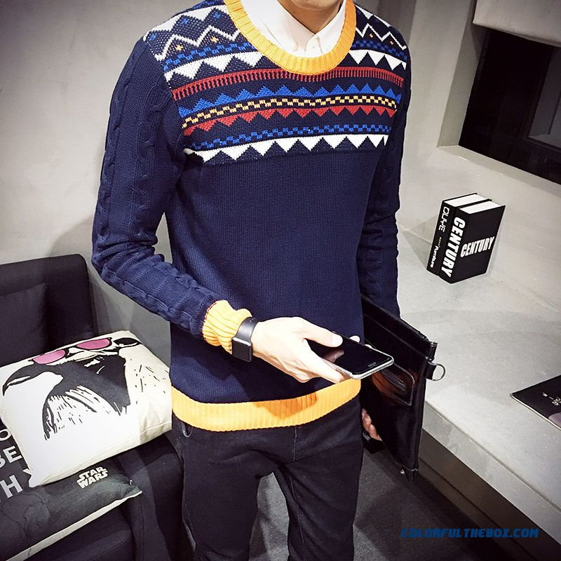 Men's Clothing Hit Color Round Neck Knitwear Pullover Sweaters Warm