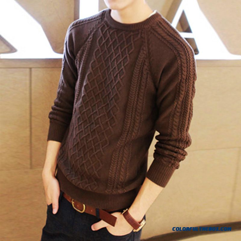 Men's Clothing Pullover Knitwear Thick Crew Neck Sweater Coat Slim