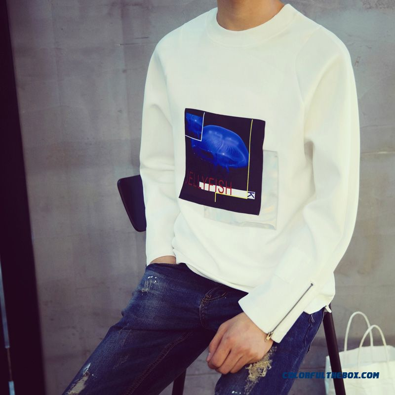 Men's Clothing Round Neck Long-sleeved Sweatshirts Printing Pullover