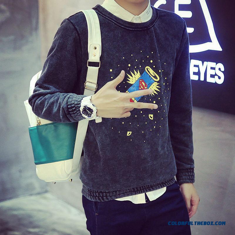 Men's Clothing Round Neck Pullover Long-sleeved Sweatshirts Baseball Uniform