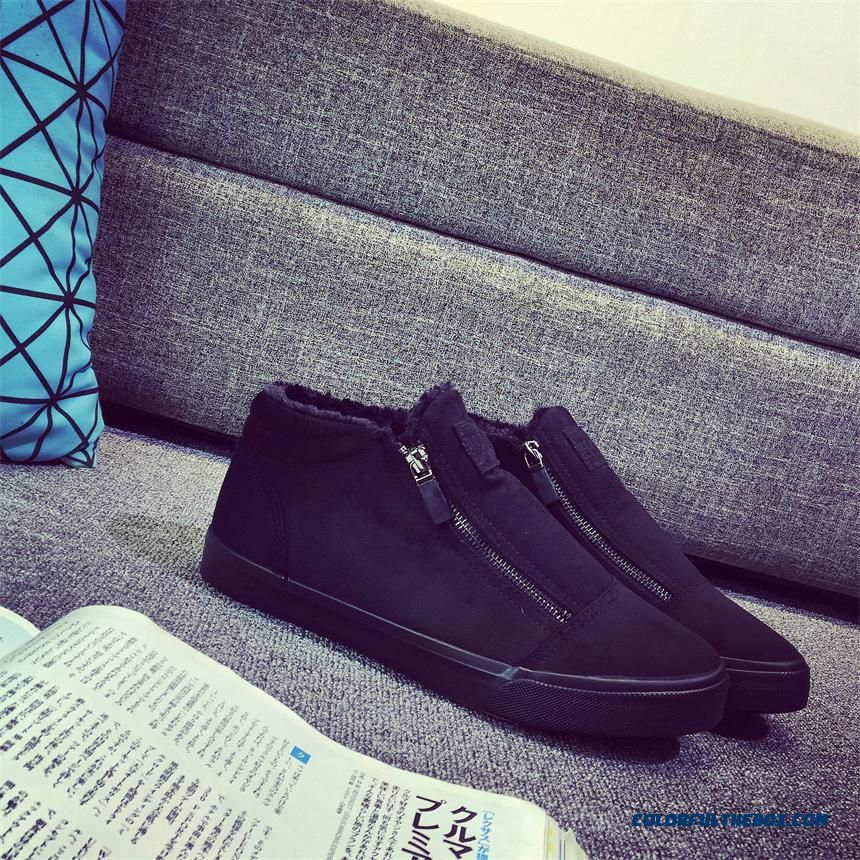 Men's Cotton-padded Shoes High-top Winter Warm Shoes Add Velvet Without Shoelace Flats Thick Shoes - more images 3