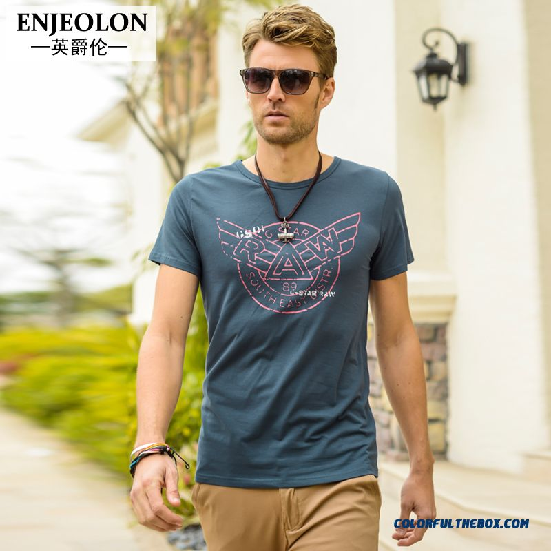 Men's Crew Neck Short-sleeved Tees Slim Printing Personalized Free Shipping