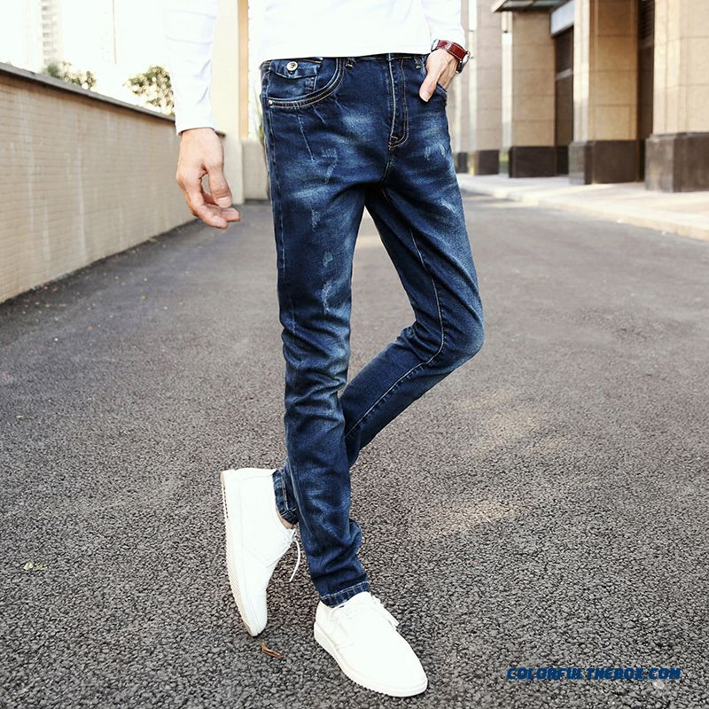 Men's Elastic Jeans Straight Young Slim Long Style Free Shipping
