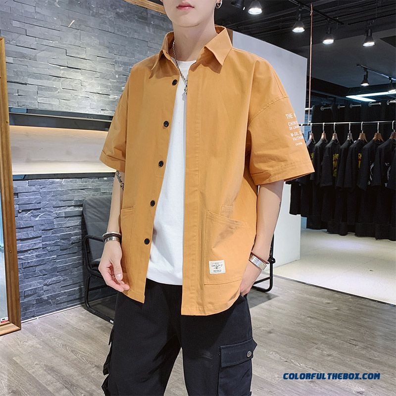 Men's Europe Loose Summer Trend Coat Shirt Skinny Leisure Short Sleeve