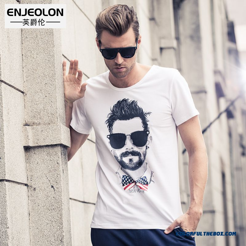 Men's European Style Crew Neck Short Sleeve Tees Printing Heads Punk Personality Tide