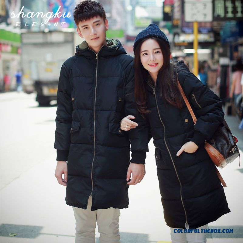 Men's Fashion Casual Cotton Hooded Down Jacket Long Section Thicken