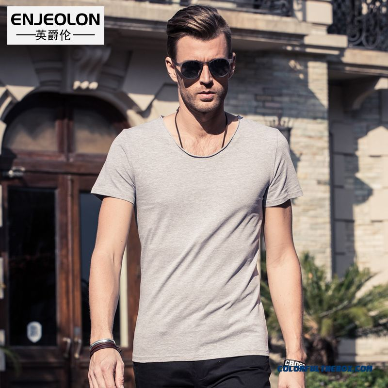 Men's Fashion Personality Short Sleeve Tees Crew Neck Curling Summer