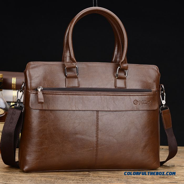 Men's Genuine Leather Briefcase Bag Leather Business Handbag High Capacity