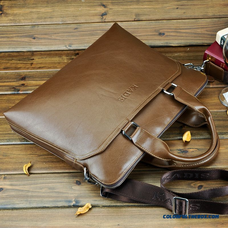 Men's Genuine Leather Handbag Horizontal Style Of Zipper Leather Briefcase Laptop Bag