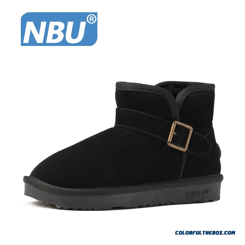 Men's Genuine Leather Snow Boots Short Warm Cotton Boots Buckle Shoes