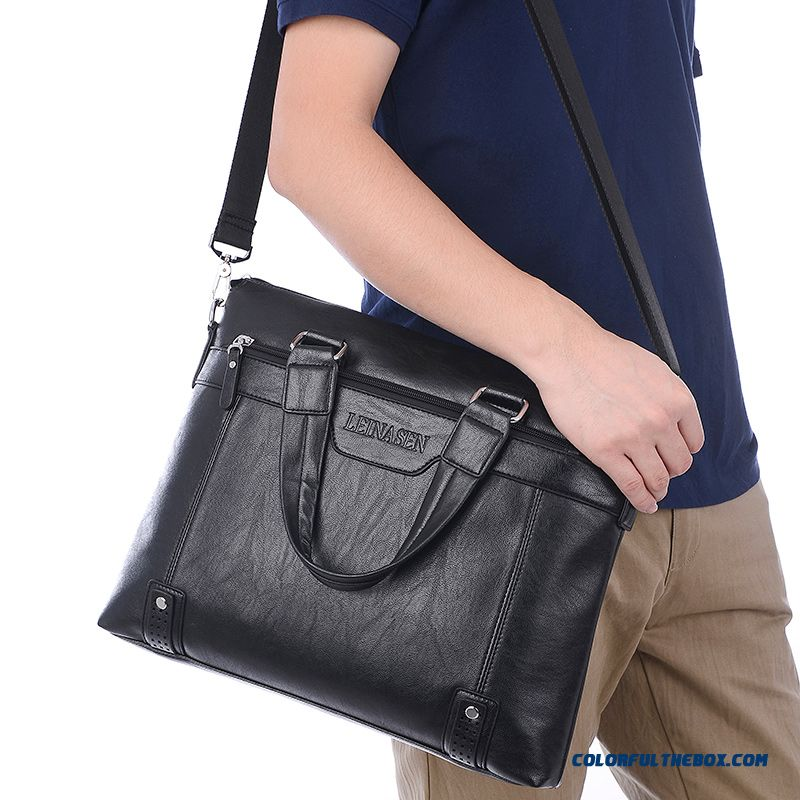Men's Handbag Business Document Horizontal Style Of Retro Shoulder Bag Men's Briefcase Bag