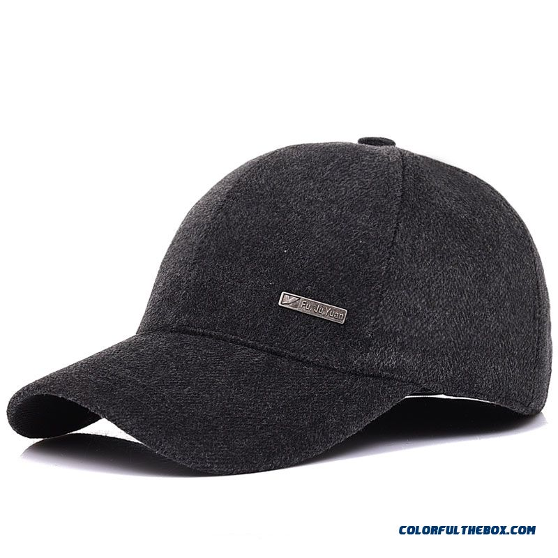 Men's Hats Winter Outdoor Recreational Woolen Hat Middle-aged Baseball Cap Ear Protected Cap