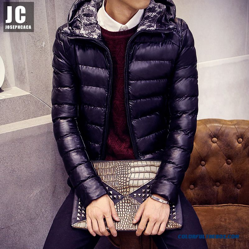 Men's Jackets Slim Hooded Thicker Black Cortex Short Winter Coat Tide - more images 1