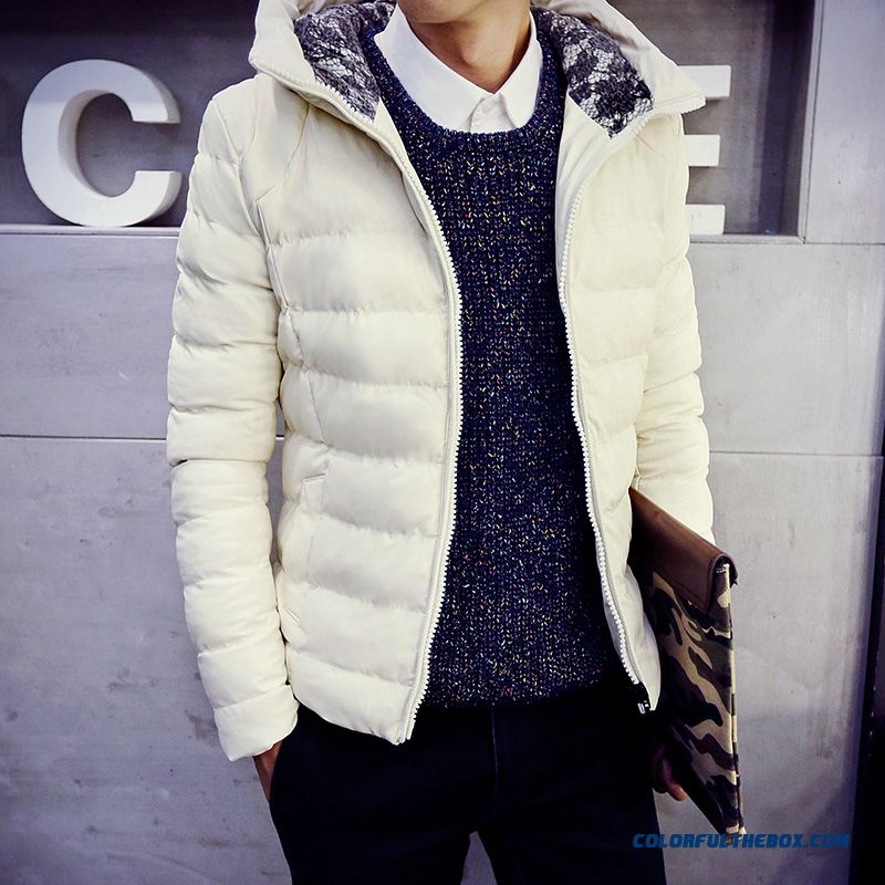 Men's Jackets Slim Hooded Thicker Black Cortex Short Winter Coat Tide - more images 3