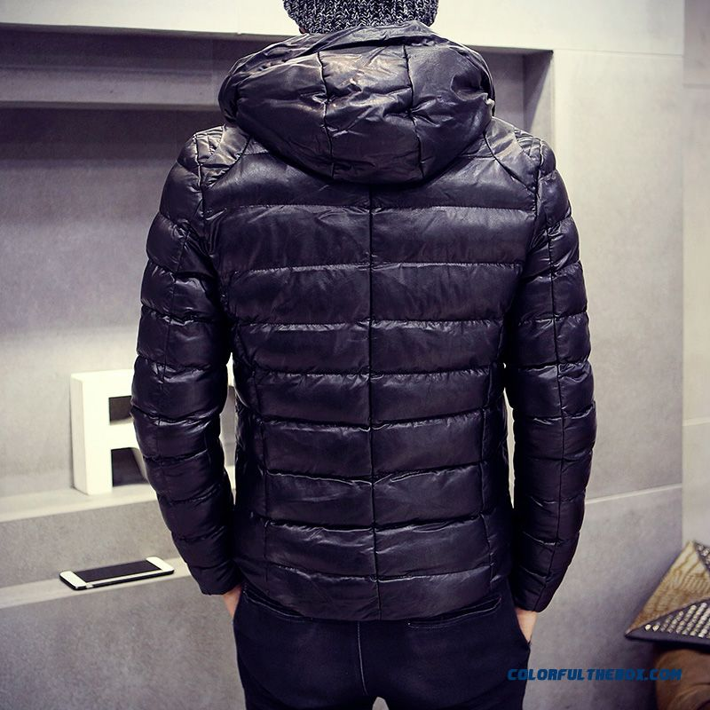 Men's Jackets Slim Hooded Thicker Black Cortex Short Winter Coat Tide - more images 4