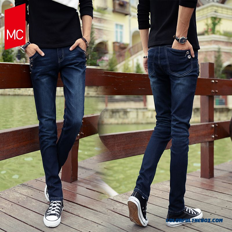 Men's Jeans Men Summer Thin Slim Casual Fashion Classic Washed Long Trousers