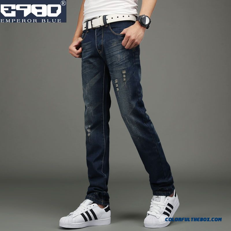 Men's Jeans Straight Broken Hole Retro Teen Slim Long Style