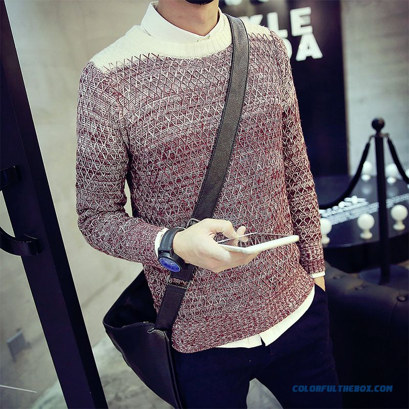 Men's Knit Sweater Pullover Thick Round Neck Long Sleeve Fashion