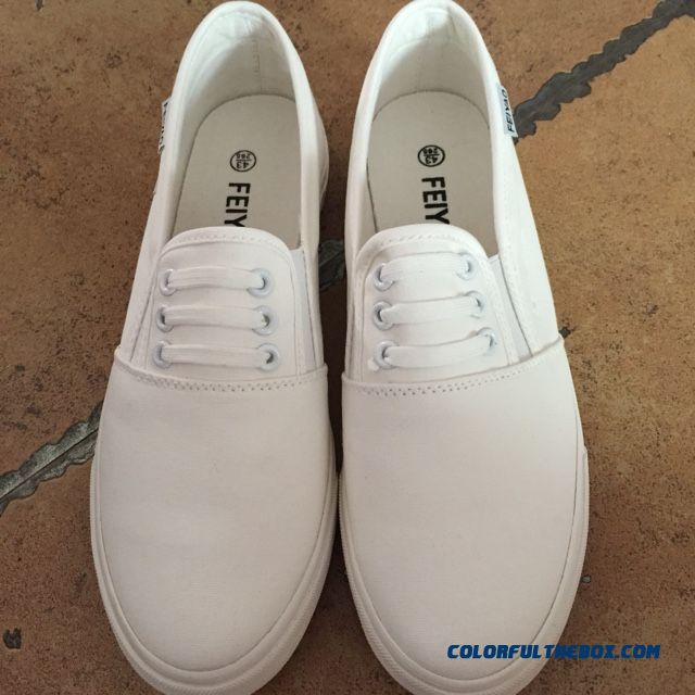 Men's Korean Style Low Cut Skateboarding Shoes Trend Breathable Casual White Flats Shoes