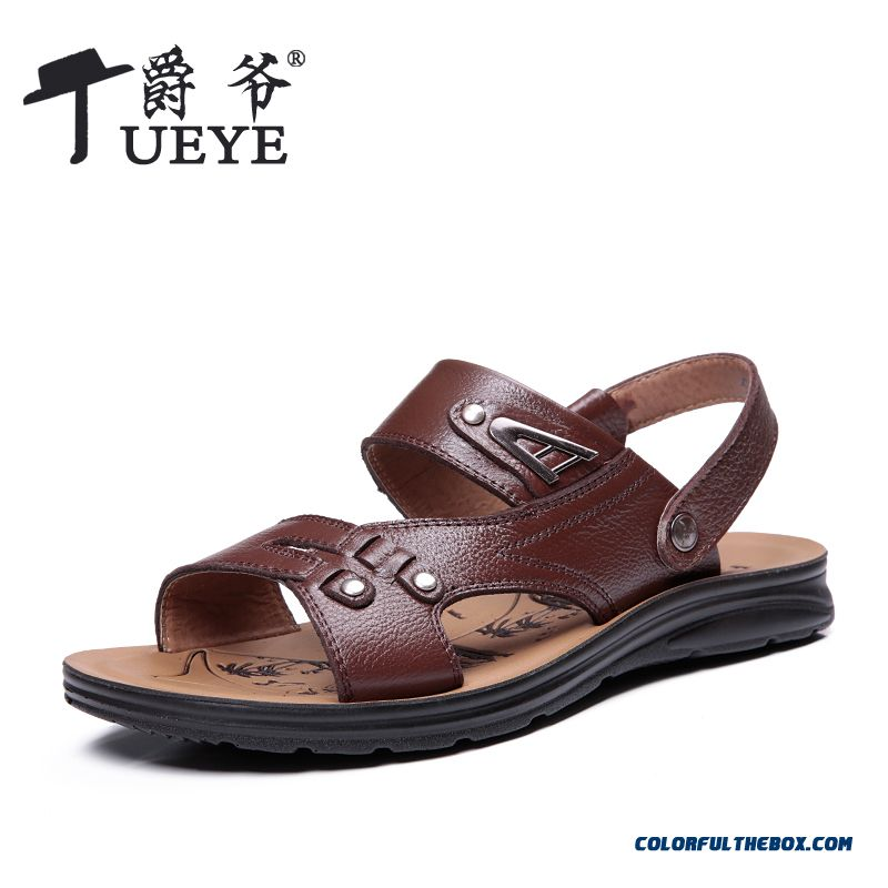 Men's Leather First Layer Of Leather Sandals Summer Cheap