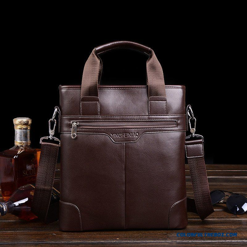 Men's Leather Handbag Horizontal And Vertical Two Styles Of Casual Genuine Leather Briefcase