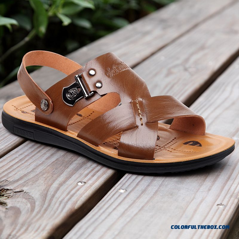 Men's Leather Sandals Soft Bottom Cozy Beach Shoes