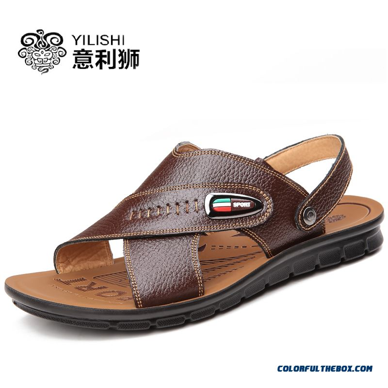 Men's Leather Sandals Summer Leather Casual Shoes Korean Version Of The Trend