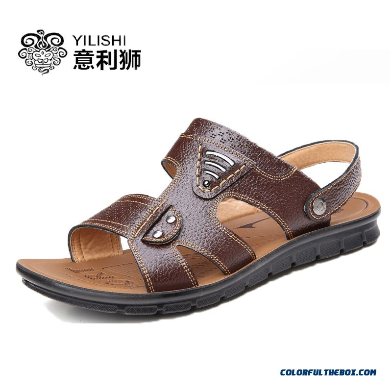 Men's Leather Sandals Summer Open Toe Breathable Beach Shoes
