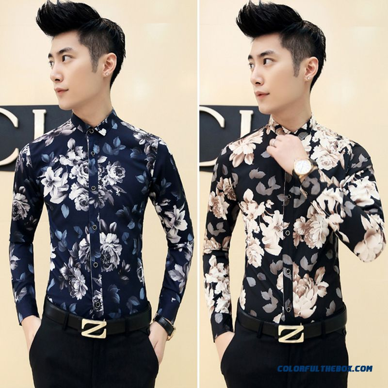 Men's New Autumn And Winter Long-sleeved Printing Slim Top Quality Shirts